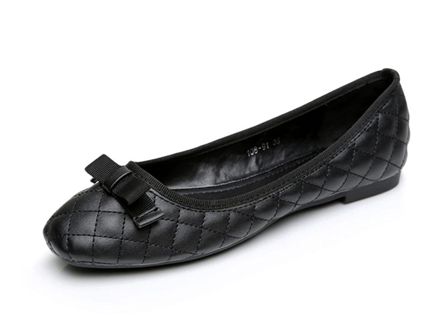 Aisun Women's Comfy Sweet Bowknot Plaid Flat Slip On Loafers Black