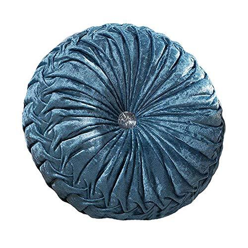 Zituop Home Decorative Round Pumpkin Throw Pillows, 13.8-inch (blue)