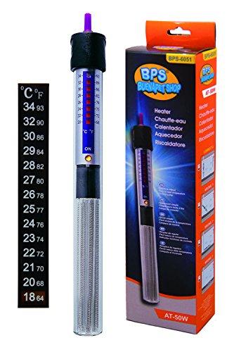 BPS (R) Calentador Sumergible para Pecera 50W - 22.3cm con Un Termómetro Digital Adhesivo.