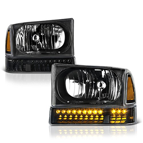 VIPMotoZ 1999-2004 Ford F-250 F-350 Superduty Excursion Headlights - Matte Black Housing, LED Daytime Running Lamp Strips, Driver and Passenger Side 1999 Ford F-250 Pickup