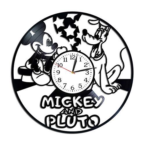 (Kovides Mickey Mouse and Pluto Clock Lp Vinyl Retro Record Wall Clock Vintage Cartoon Gift Birthday Gift for Kids Mickey Mouse Art Walt Disney Art Xmas Gift Idea)