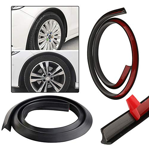 "PROMOTOR 2PCS Car Wheel Tires Eyebrow Strip 4.9FT/59"" Universal Wheel Fender Extension Moulding Trim Strip"