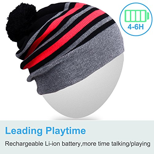 Rotibox Washable Bluetooth Music Beanie Hat Pom Pom with Wireless Stereo  Over Ear Headphones Headsets Earphones Speaker Hands Free for Outdoor  Sports