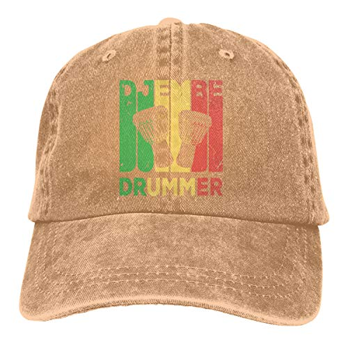 Baseball Cap for Men and Women, Djembe Drummer Vintage Mens Cotton Adjustable Denim Cap Hat ()