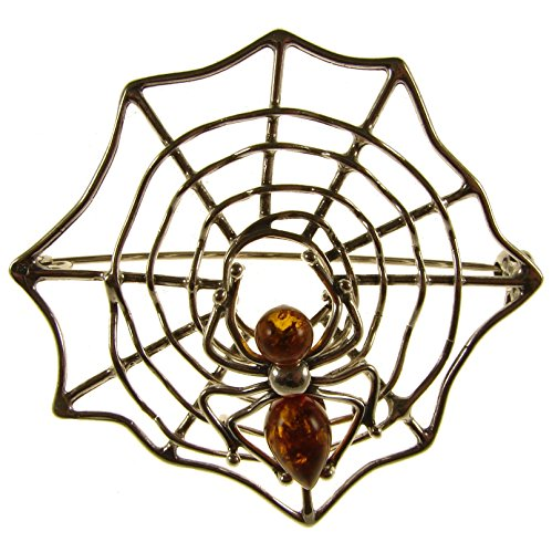 - BALTIC AMBER AND STERLING SILVER 925 DESIGNER COGNAC SPIDERWEB BROOCH PIN JEWELLERY JEWELRY