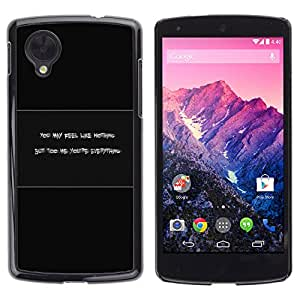 LECELL--Funda protectora / Cubierta / Piel For LG Nexus 5 D820 D821 -- Feel Like Nothing --