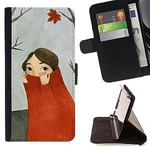- autumn forest painting gray/ Personalizada del estilo del dise???¡¯???¡Ào de la PU Caso de encargo del cuero del tir???¡¯????n del s - Cao - For Samsung