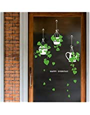 Muursticker Opknoping mand Potted Green Plants Schil, Verwijderbare DIY Zelfklevende Groene Muurstickers, Muur Art Muurschildering of Woonkamer Slaapkamer Koffiewinkel Glazen Deur Decoratie