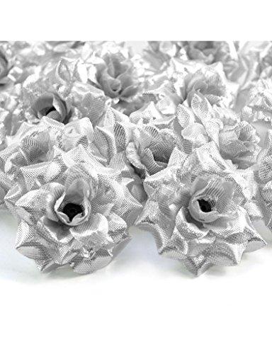 Zacoo Silk Roses Artificial Silk Flower Heads 50pcs. Silk Silver 50mm