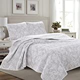 Great Bay Home 3-Piece Reversible Quilt Set with Shams. All-Season Bedspread with Floral Print Pattern in Contemporary Colors. Emma Collection By Brand. (King, Grey)