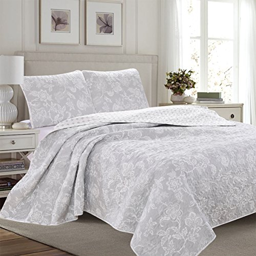 Great Bay Home 3-Piece Reversible Quilt Set with Shams. All-Season Bedspread with Floral Print Pattern in Contemporary Colors. Emma Collection By Brand. (Full/Queen, (Contemporary Duvet Sets)