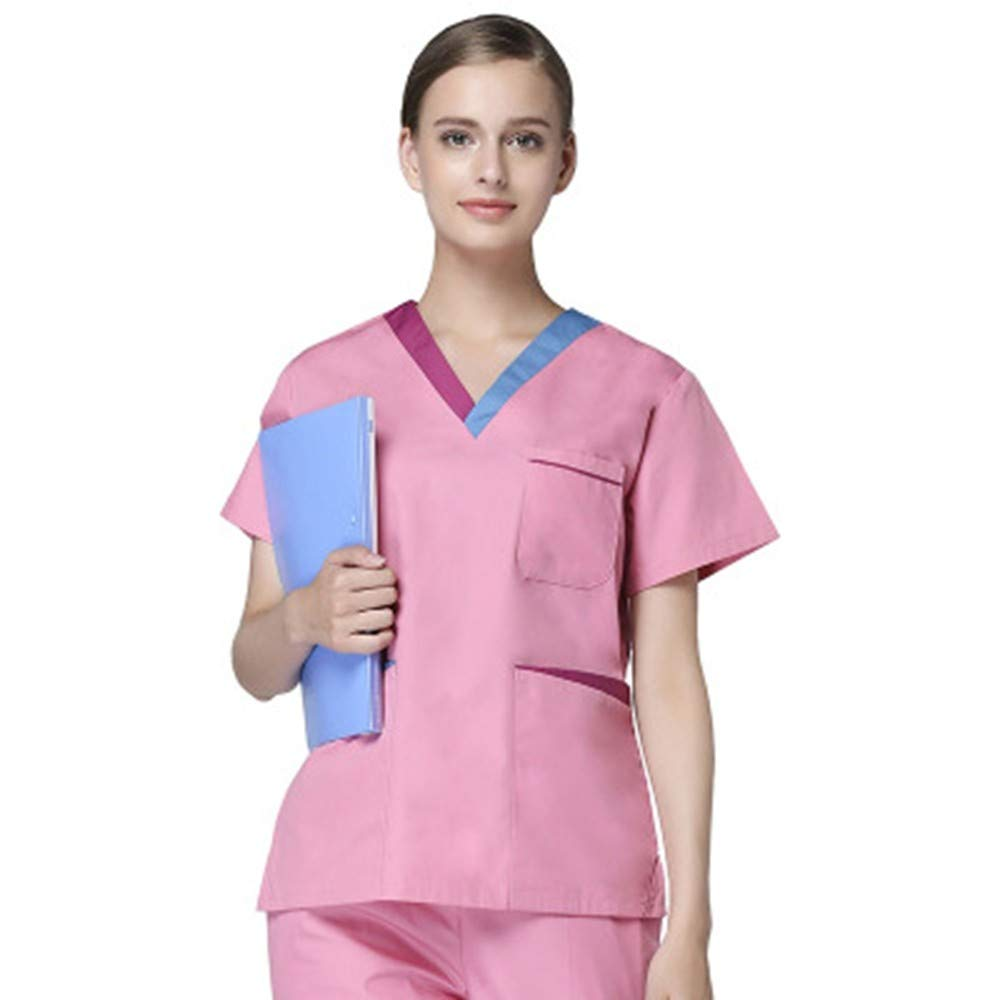 acb1e81a469 QZTG Medical coat Plus Size Women's V Neck Summer Nurse Uniform Hospital  Medical Scrub Set Clothes Short Sleeve Surgical Scrubs,Pink, M:  Amazon.co.uk: ...