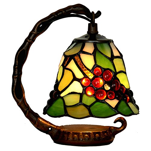Bieye L10035 Tiffany Style Stained Glass 6-inch Grapes Small Bell Table Lamp with Cast Iron Base (Small Stained Glass Table Lamp)