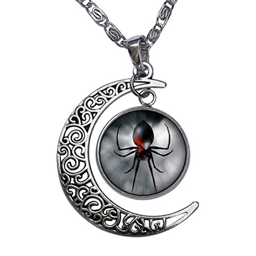 GiftJewelryShop Black Widow Spider Crescent Moon Galactic Universe Glass Cabochon Pendant Necklace -