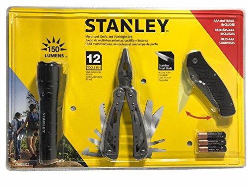 Stanley 12 in 1 Multi Tool Folding Pocket Knife 150 Lumens LED Light Set STHT 81502, Black ()