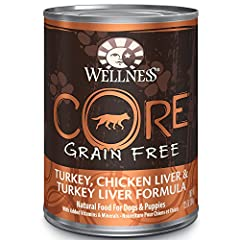 Wellness CORE Natural Grain Free Wet Canned Dog Food Turkey, Chicken & Turkey Liver Recipe is healthy, 100% natural gluten free, grain free dog food for adult dogs made with turkey, chicken liver and turkey liver, salmon oil, cranberries ...