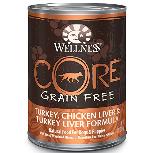 Wellness Core Natural Wet Grain Free Canned Dog Food, Turkey Liver & Chicken Liver, 12.5-Ounce Can (Pack Of 12)
