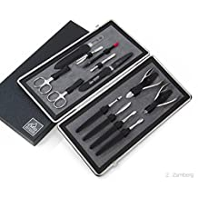 Extra Large 13 piece Luxury Manicure Set in Black Leather Case. Solingen, Germany