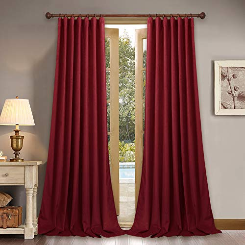 StangH Extra Long Thick Velvet Curtains - Blackout Velvet Drapes Rustic Home Decor High Ceiling Wall Backdrop for Theater/Parlor, 52 x 120-Inch, 2 Pcs ()
