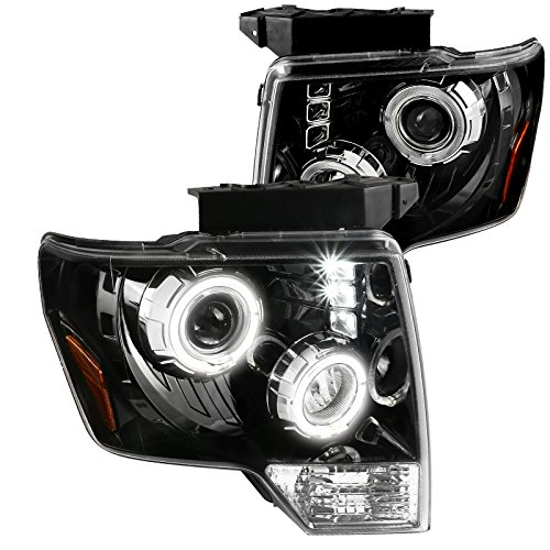 [Jet Black] Ford F150 Pickup Halo+LED DRL Clear Projector Headlights Left+Right