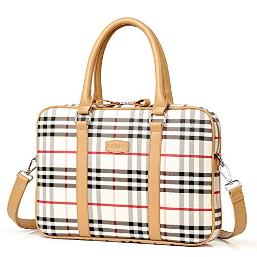 Laptop Bag 15.6 Inch - for Women Waterproof PU Leather Shoulder Tote Messenger Laptop Case - for MacBook Air Dell Lenovo HP Samsung (Striped Plaid)