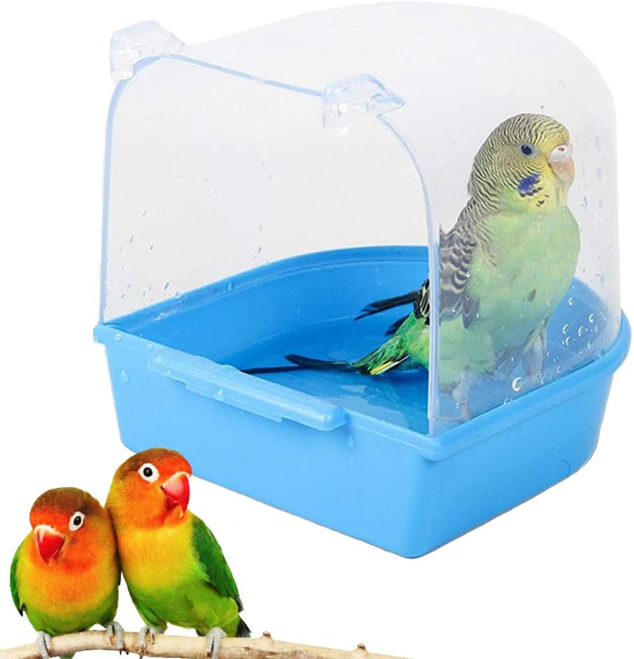 kathson Parrot Bath Box Bird Cage Accessory Supplies Bathing Tub Bath for Pet Brids Canary Budgies Parrot (Random Color) : Pet Supplies