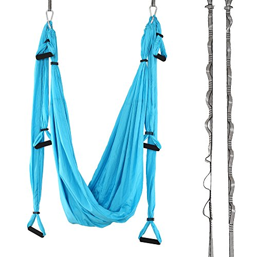 Aerial Yoga Swing – Antigravity Yoga Hammock – Yoga Trapeze – Sling – Inversion Tool for Back Pain Relief – 2 Hanging Straps – 4 Heavy Duty Carabiners – 6 EVA Handles and Beginner PDF Guide Included.