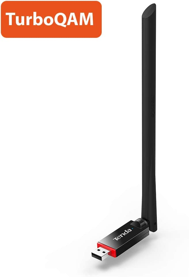 Tenda U6 WiFi USB Adaptador/Dongle (300 Mbit/s, Antena de 6 dBi OFC, transportable, Alcance Tark, Universal, Compatible con Hot Spot) Negro