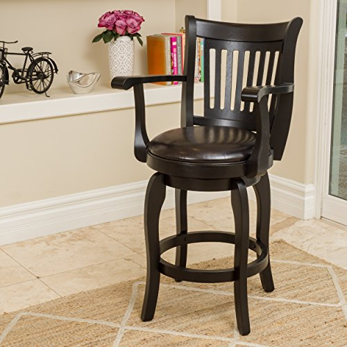 Brook Armed Espresso Leather Swivel Counter Stool (Armed Bar Stool)