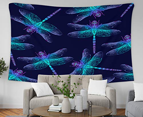 Jacrane Tapestry Wall Hanging with 80x60 Inches Dragonfly Pattern Dark Blue Backgrounds Summer Night Art Tapestries for Dorm Bedroom Living Room Home Decor