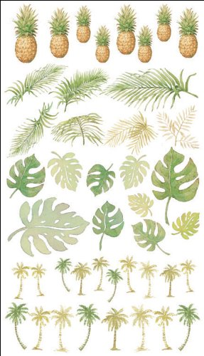 Reminisce Tropical Elements Rub-On Transfers 4 Inch by 7 Inch Sheet-Palm