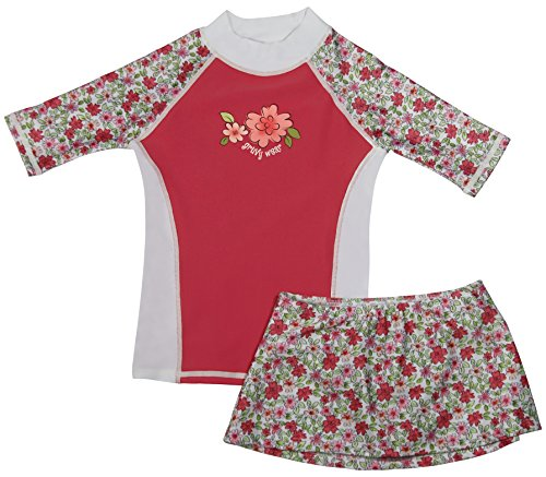 Girls Short Sleeve UPF 50+ Rash Guard and Bikini Skirt Swimsuit Set