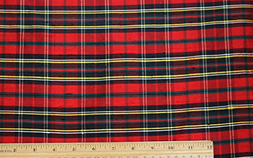 Red & Green Dupioni & Shantung Plaids, 100% Silk Fabric, By The Yard, 54