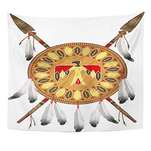 Emvency Tapestry Wall Hanging Polyester Fabric Tribal Native American Indian Shield Spears Weapon Home Decor Living Room Bedroom Dorm 50x60 Inches -