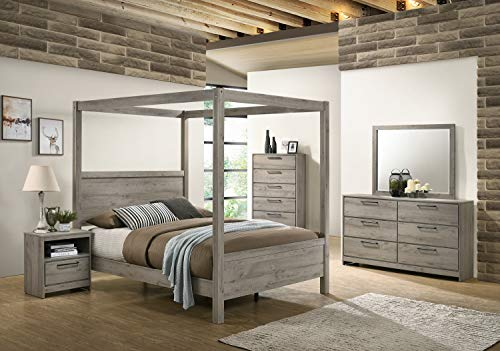 Kings Brand Furniture - Harley 6-Piece King Size Bedroom Set, Light Grey. Bed, Dresser, Mirror, Chest & 2 Night Stands