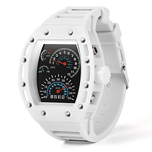 MOKO-PP Fashion Luxur LED Date Watch Sport Quartz Wrist Men Analog Digital Army Military(White) - Esq Quartz Watch