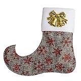 MARGUERAS 12PCS Christmas Stockings Linen Burlap Silverware Holders Felt Rustic Tableware Bags (Gray)