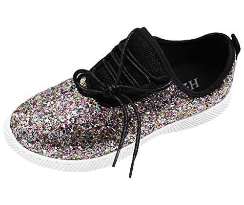 5 's Rose Girl Sneaker US Fashion Hey up Shoe Gold Glitter Slip Easy Shiny Walking On Multicolor Women Hey Lace tZfnqtx