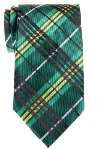 Retreez Stylish Tartan Plaid Check Woven Microfiber Men's Tie - Green (Tartan Check)