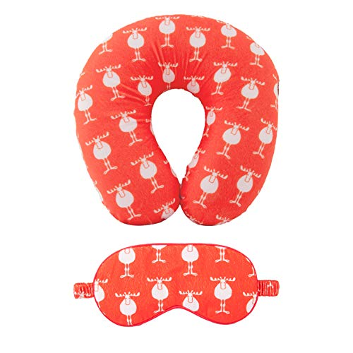 Moonen Travel Pillow and Eye Mask Set Memory Foam Neck Pillow and Soft Sleeping Mask Travel Kit with Ultra Plush Cover for Family and Friends on a Train Airplane Car Bus (Red)