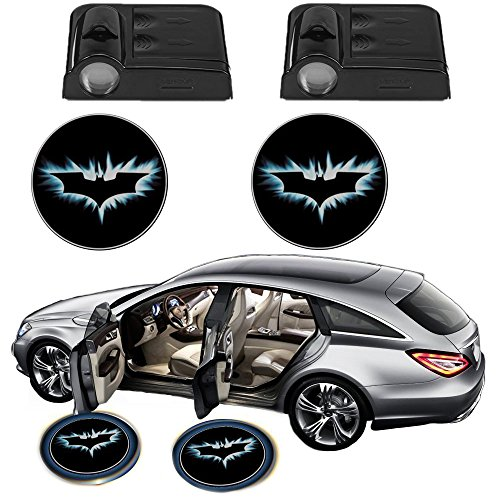 Science Purchase Black Wireless Car Door LED Projector Light (2x Night Cold Blue bat batman car door courtesy welcome logo shadow ghost light laser - Projector Door Car Batman