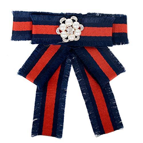 Lots Style Rhinestone Crystal Bow Tie Ribbon Brooch Pins for Women Jewelry   StyleID - #08 Blue burr six petals