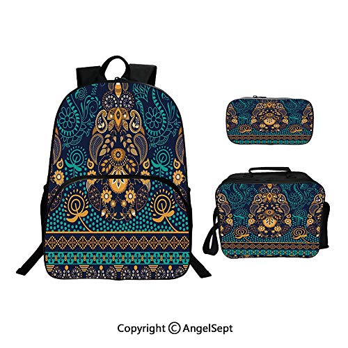 Backpack With Lunch Bag Pencil Bag Three-piece,Ethnic Backgrounded Design with Pattern of Flower Leaves and Dots Image Blue and Gold,For Girls Water Resistant Colorful Christmas Gifts
