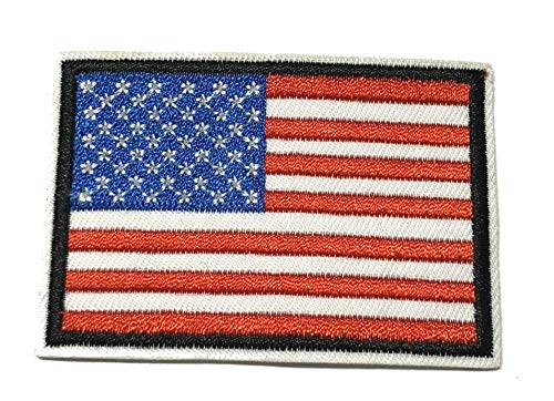 American USA Flag Tactical Military Morale Embroidered Patch White Border America Military US World Flag Logo History Series Theme Iron or Sew-on Uniform Emblem Badge DIY Appliques Application Patches ()