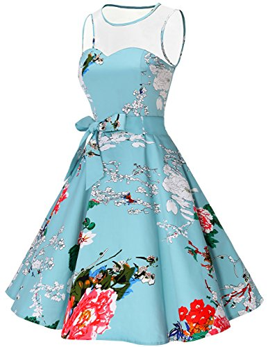 Bridesmay Hepburn Dress Floral Audrey Vintage Swing Rockabilly s Women 1950s See Through pZFAprq