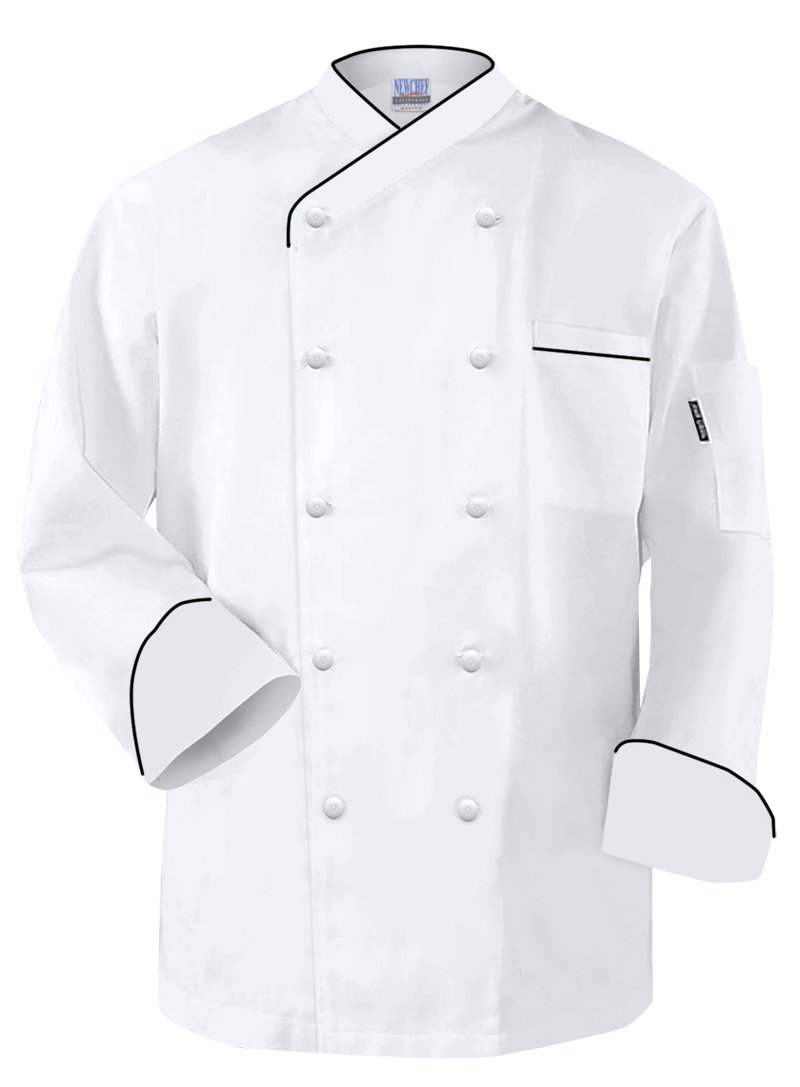 Newchef Fashion Frenchy Chef Coat White Black Trim 2XL White by Newchef Fashion
