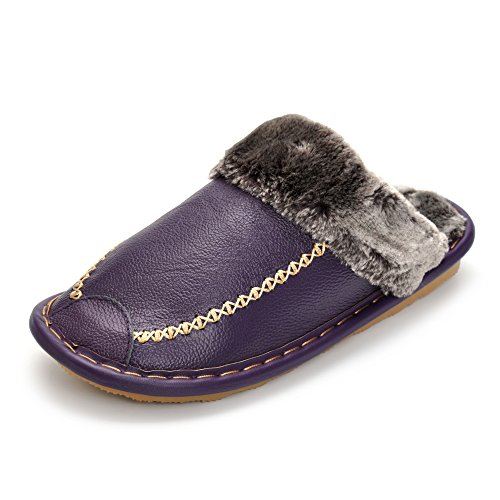 Soft Warm Winter Women Slippers With Plush Fur Genuine Leather Shoes Slip-Resistant Indoor Slippers Purple