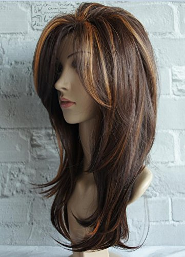 wigbuy Long Layered Shoulder Length Synthetic Hair Fiber Highlight Multicolor for Women (Mixcolor -