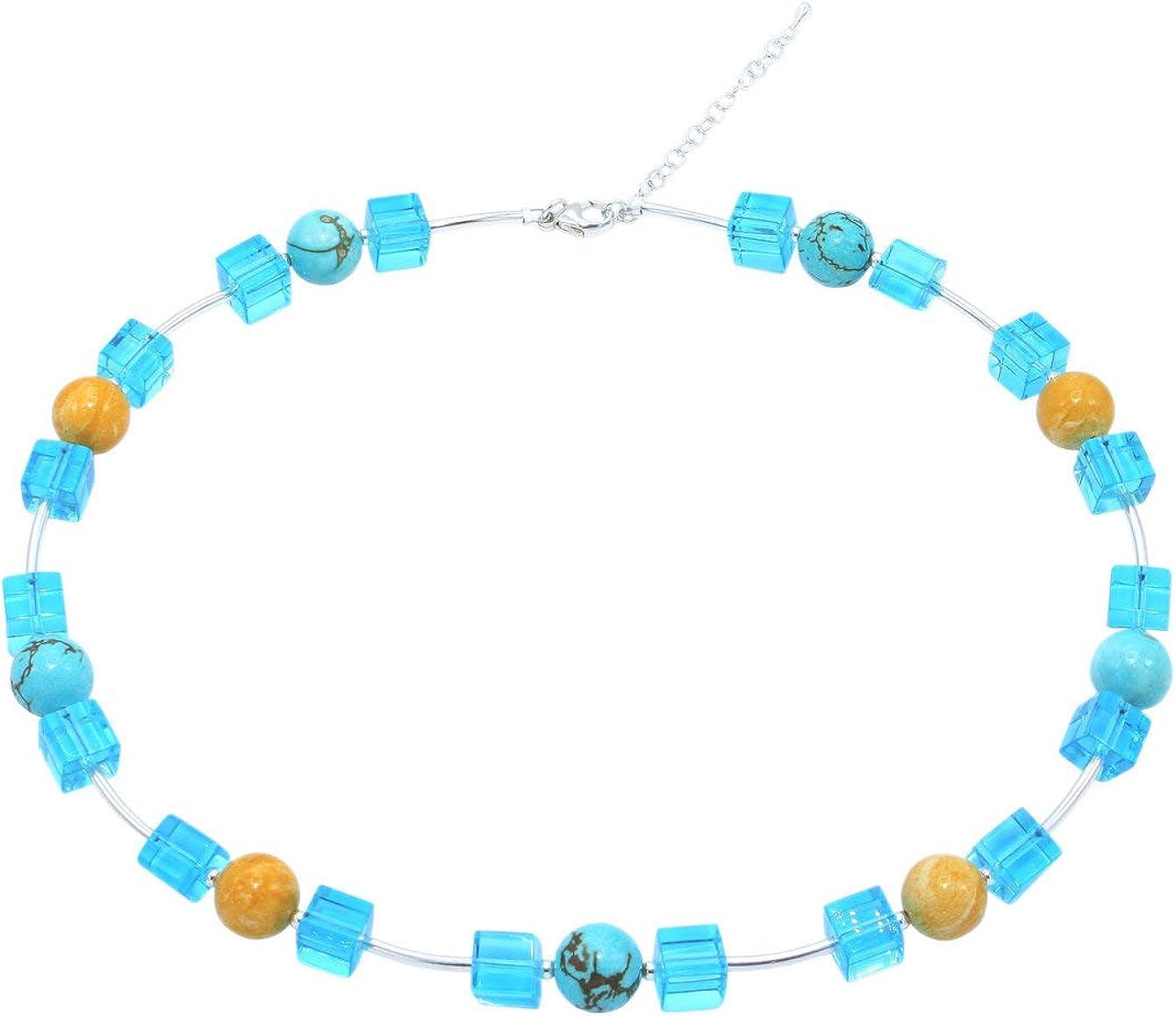 helíades Azul Ámbar de cristal de color turquesa cadena Collar con Cubes y bolas para mujer