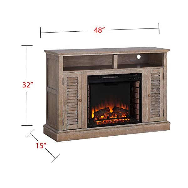 "Furniture HotSpot – Farmhouse Electric Fireplace TV Stand – Burnt Oak - 48"" W x 15"" D x 32"" H"
